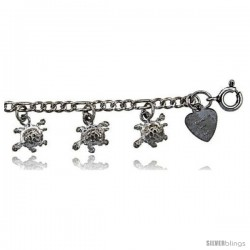 Sterling Silver Turtles Charm Anklet