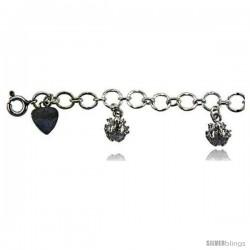 Sterling Silver Frogs Charm Bracelet