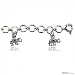 Sterling Silver Elephants Charm Bracelet
