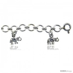Sterling Silver Elephants Charm Anklet