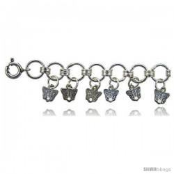 Sterling Silver Butterfly Charm Bracelet -Style 6cb553