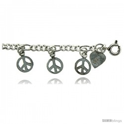 Sterling Silver Peace Sign Charm Bracelet