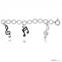 Sterling Silver Musical Notes Charm Anklet