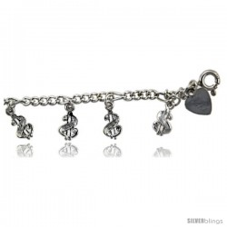 Sterling Silver Dollar Signs Charm Anklet