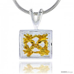 Hawaiian Theme Sterling Silver 2-Tone Flower Pendant, 3/8 (10 mm) tall -Style 6hp11