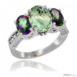 10K White Gold Ladies Natural Green Amethyst Oval 3 Stone Ring with Mystic Topaz Sides Diamond Accent