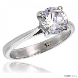 Sterling Silver 1 1/4 Carat Size Brilliant Cut Cubic Zirconia Solitaire Bridal Ring