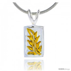 Hawaiian Theme Sterling Silver 2-Tone Leaf Pendant, 1/2 (12 mm) tall