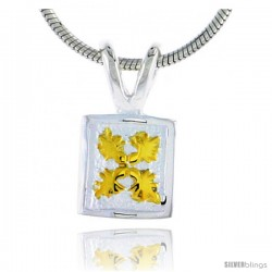 Hawaiian Theme Sterling Silver 2-Tone Flower Pendant, 5/16 (8 mm) tall -Style 6hp32