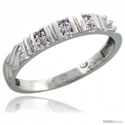 10k White Gold Ladies' Diamond Wedding Band, 1/8 in wide -Style 10w117lb