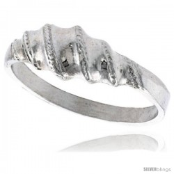 Sterling Silver Freeform Ring Polished finish 1/4 in wide -Style Ffr575