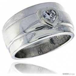 Sterling Silver Wide Band Ring Heart CZ