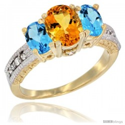 14k Yellow Gold Ladies Oval Natural Citrine 3-Stone Ring with Swiss Blue Topaz Sides Diamond Accent