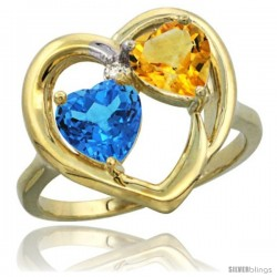 14k Yellow Gold 2-Stone Heart Ring 6mm Natural Swiss Blue & Citrine Diamond Accent