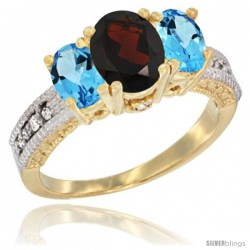 14k Yellow Gold Ladies Oval Natural Garnet 3-Stone Ring with Swiss Blue Topaz Sides Diamond Accent