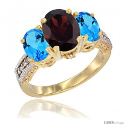 14K Yellow Gold Ladies 3-Stone Oval Natural Garnet Ring with Swiss Blue Topaz Sides Diamond Accent