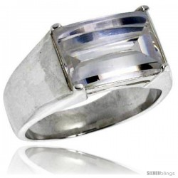 Sterling Silver Rectangular Cubic Zirconia Men's Solitaire Ring