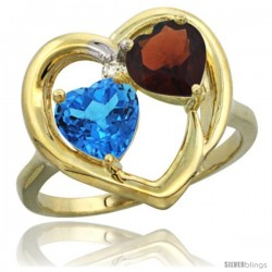 14k Yellow Gold 2-Stone Heart Ring 6mm Natural Swiss Blue & Garnet Diamond Accent