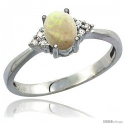 10K White Gold Natural Opal Ring Oval 7x5 Stone Diamond Accent