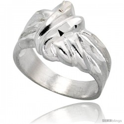 Sterling Silver Freeform Knot Ring Polished finish 1/2 in wide