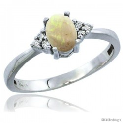 10K White Gold Natural Opal Ring Oval 6x4 Stone Diamond Accent
