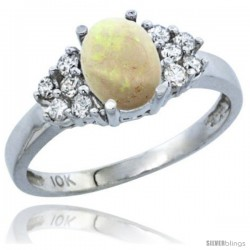 10K White Gold Natural Opal Ring Oval 8x6 Stone Diamond Accent