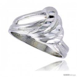 Sterling Silver Freeform Ring Polished finish 1/2 in wide -Style Ffr576