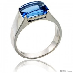 Sterling Silver Blue Topaz Colored Cubic Zirconia Men's Solitaire Ring