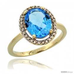 14k Yellow Gold Diamond Halo Blue Topaz Ring 2.4 carat Oval shape 10X8 mm, 1/2 in (12.5mm) wide
