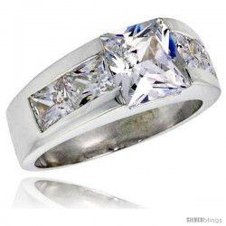 Sterling Silver 3.0 Carat Size Princess Cut Cubic Zirconia Men's Ring