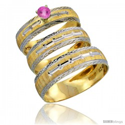 10k Gold 3-Piece Trio Pink Sapphire Wedding Ring Set Him & Her 0.10 ct Rhodium Accent Diamond-cut Pattern