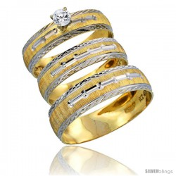 10k Gold 3-Piece Trio White Sapphire Wedding Ring Set Him & Her 0.10 ct Rhodium Accent Diamond-cut Pattern