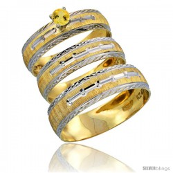 10k Gold 3-Piece Trio Yellow Sapphire Wedding Ring Set Him & Her 0.10 ct Rhodium Accent Diamond-cut Pattern