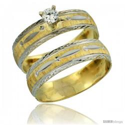 10k Gold Ladies' 2-Piece 0.10 Carat Diamond Engagement Ring Set Diamond-cut Pattern Rhodium Accent, 3/16 in -Style 10y502e2