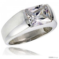 Sterling Silver 3.0 Carat Size Emerald Cut Cubic Zirconia Men's Solitaire Ring