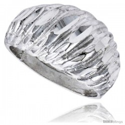 Sterling Silver Freeform Ring Polished finish 3/8 in wide -Style Ffr571