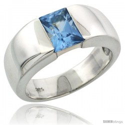 Sterling Silver 1.5 Carat Size Emerald Cut Blue Topaz Colored CZ Men's Solitaire Ring