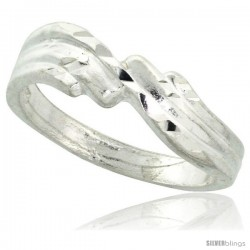 Sterling Silver Freeform Ring Polished finish 3/16 in wide -Style Ffr581