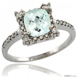 14k White Gold Diamond Halo Aquamarine Ring 1.2 ct Checkerboard Cut Cushion 6 mm, 11/32 in wide