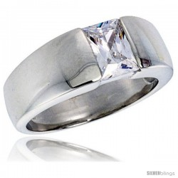 Sterling Silver 1.5 Carat Size Emerald Cut Cubic Zirconia Men's Solitaire Ring