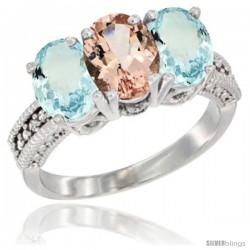 14K White Gold Natural Morganite & Aquamarine Sides Ring 3-Stone Oval 7x5 mm Diamond Accent