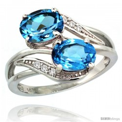 14k White Gold ( 8x6 mm ) Double Stone Engagement Swiss Blue Topaz Ring w/ 0.07 Carat Brilliant Cut Diamonds & 2.34 Carats Oval