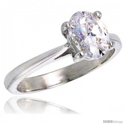 Sterling Silver 1.25 Carat Size Oval Cut Cubic Zirconia Solitaire Bridal Ring