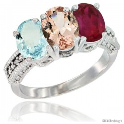 14K White Gold Natural Aquamarine, Morganite & Ruby Ring 3-Stone Oval 7x5 mm Diamond Accent