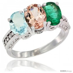 14K White Gold Natural Aquamarine, Morganite & Emerald Ring 3-Stone Oval 7x5 mm Diamond Accent