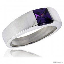 Sterling Silver 2.0 Carat Size Princess Cut Amethyst Colored CZ Men's Solitaire Ring