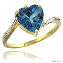 10k Yellow Gold Ladies Natural London Blue Topaz Ring Heart-shape 9x9 Stone