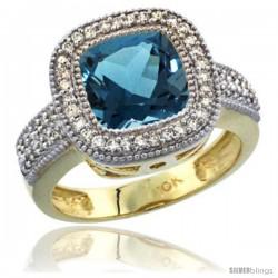10K Yellow Gold Natural London Blue Topaz Ring Cushion-cut 9x9 Stone Diamond Accent