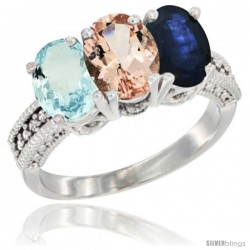 14K White Gold Natural Aquamarine, Morganite & Blue Sapphire Ring 3-Stone Oval 7x5 mm Diamond Accent
