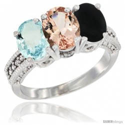 14K White Gold Natural Aquamarine, Morganite & Black Onyx Ring 3-Stone Oval 7x5 mm Diamond Accent